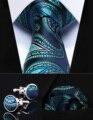 "Party Wedding Classic Pocket Square Tie TZP06Q8 Aqua Blue Paisley 3.4"" Silk Men Tie Necktie Handkerchief Cufflinks Set"