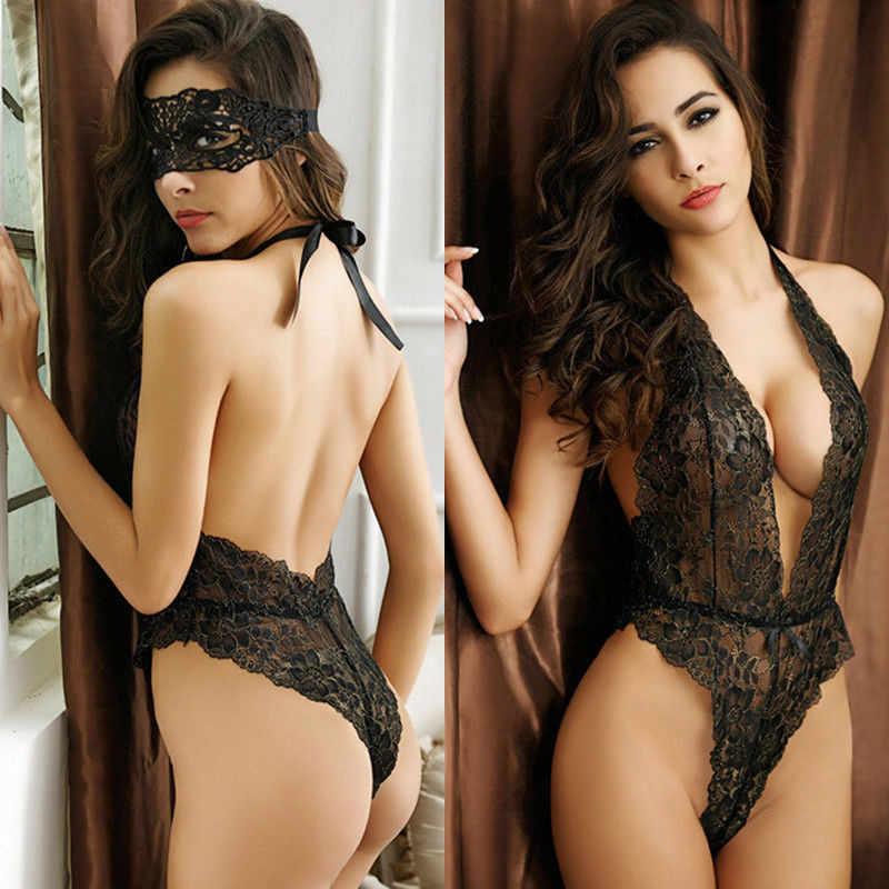 Женские Соблазнительные Кружевные Боди Нижнее белье черное ночное белье с открытой спиной