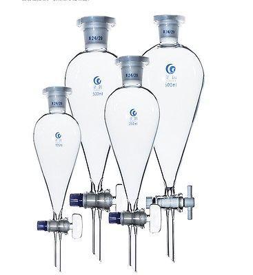 60/125/250/500/1000ml 19/26 24/29 entonnoir de séparation en forme de poire en verre de laboratoire de chimie commune avec le robinet darrêt de PTFE/verre