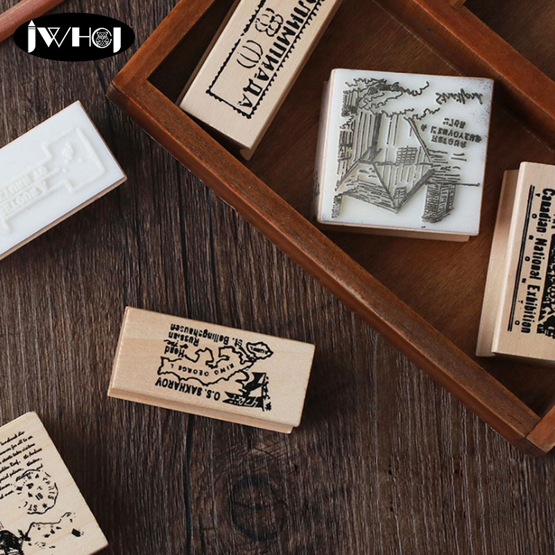 Travel memory book series wood stamp map wooden rubber stamps for scrapbooking Handmade card diy stamp Photo Album Craft gifts