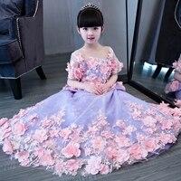 2017New Arrival European Luxury Girls Children long tail princess flowers dress kids wedding birthday beautiful long dresses