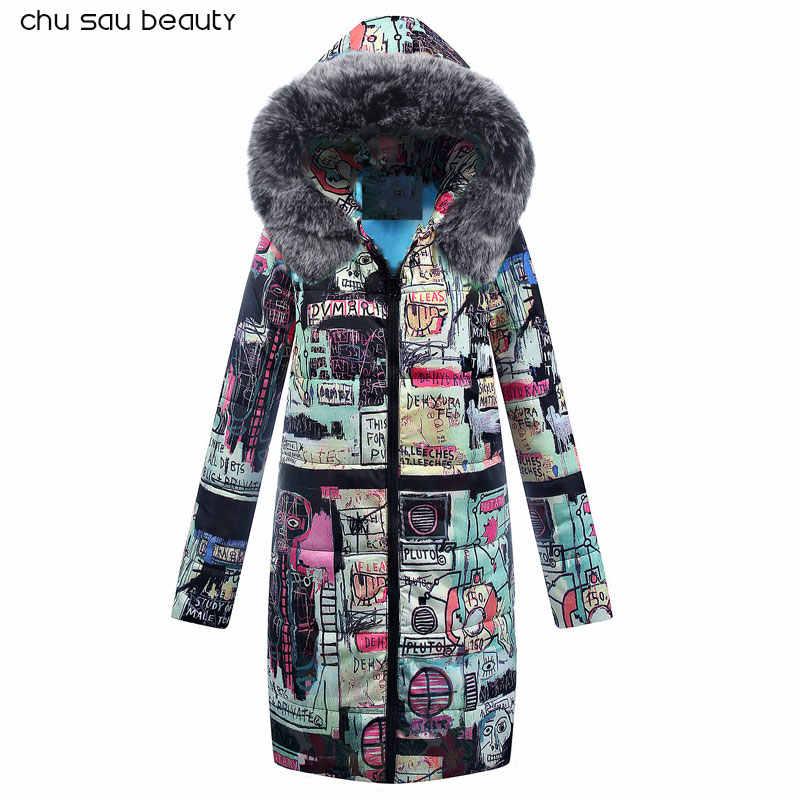 2019 autumn new women parka jackets winter warm long sleeve coats hooded female vintage print women clothing
