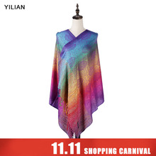 hot deal buy yilian brand print classic paisley gradient women head scarf  autumn and winter cotton shawl scarf for lady ll001