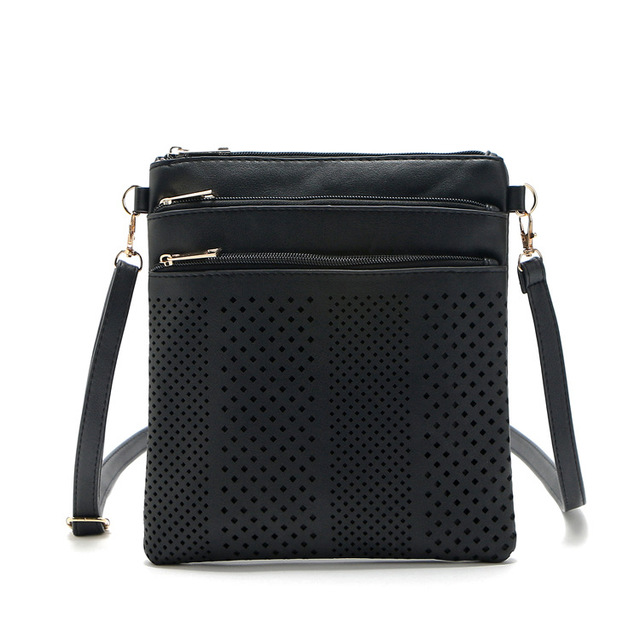 Black Solid Women Shoulder Messenger Bags Casual Clutch Vertical Pu