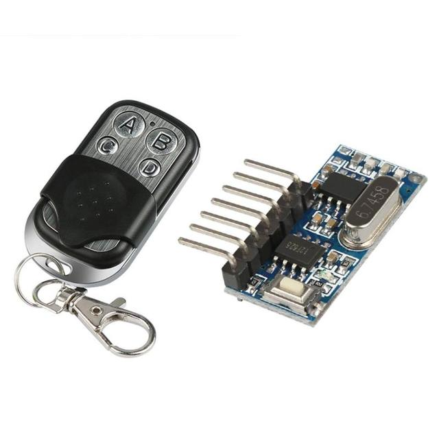 US $4 66  433MHz RF Transmitter Receiver Learning Code 4 Channel  Transmitter Relay Receiver Module Remte Control System Switch-in Remote  Controls from
