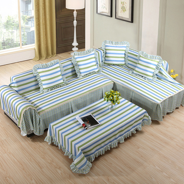 Modern Cloth Fiber Sectional Striped 2 4 3 Piece Couch Cover Dining Room  Loveseat Slipcovers Cheap