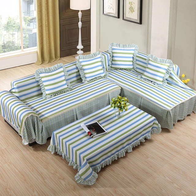 Modern Cloth Fiber Sectional Striped 2 4 3 Piece Couch Cover ...