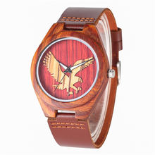 YISUYA Quartz Wooden Watches Red Sandalwood Ebony Maple Durable Leather Band Eagle Pattern Dial Natural Wood Watch montre homme
