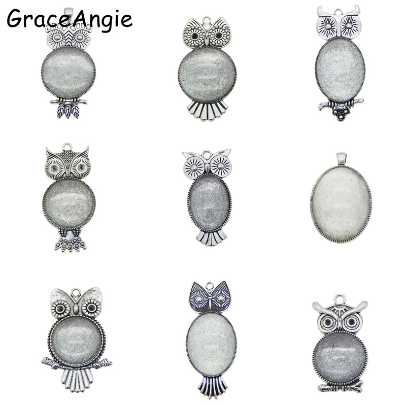 5Pcs Antique Silver Owl Animal Pendant Jewellery Findings Cabochon Setting Decor