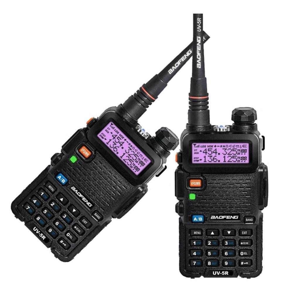 imágenes para 2 UNIDS Nueva Negro BAOFENG UV-5R Walkie Talkie VHF/UHF 136-174/400-520 MHz Dos Vías de LA UE EE.UU. RU STOCK