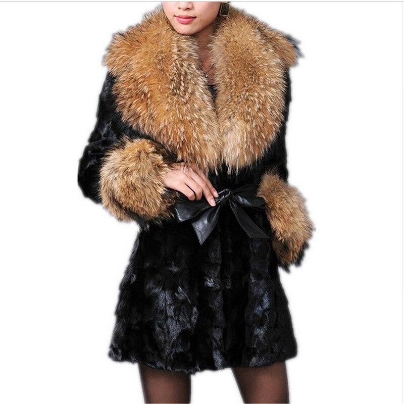 Fur Collar Nouveau 2018 Renard Cheveux White De black Collar Longs Moyen raccoon Haining Collar Automne Femelle Vison Hiver Fourrure Manteau q6WxZgR