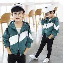 Boys Windbreaker Kids Jacket Hooded Outerwear Spring Teenager Clothes Coat Windproof Patchwork Girl Jacket For 4 6 8 10 12 Years(China)