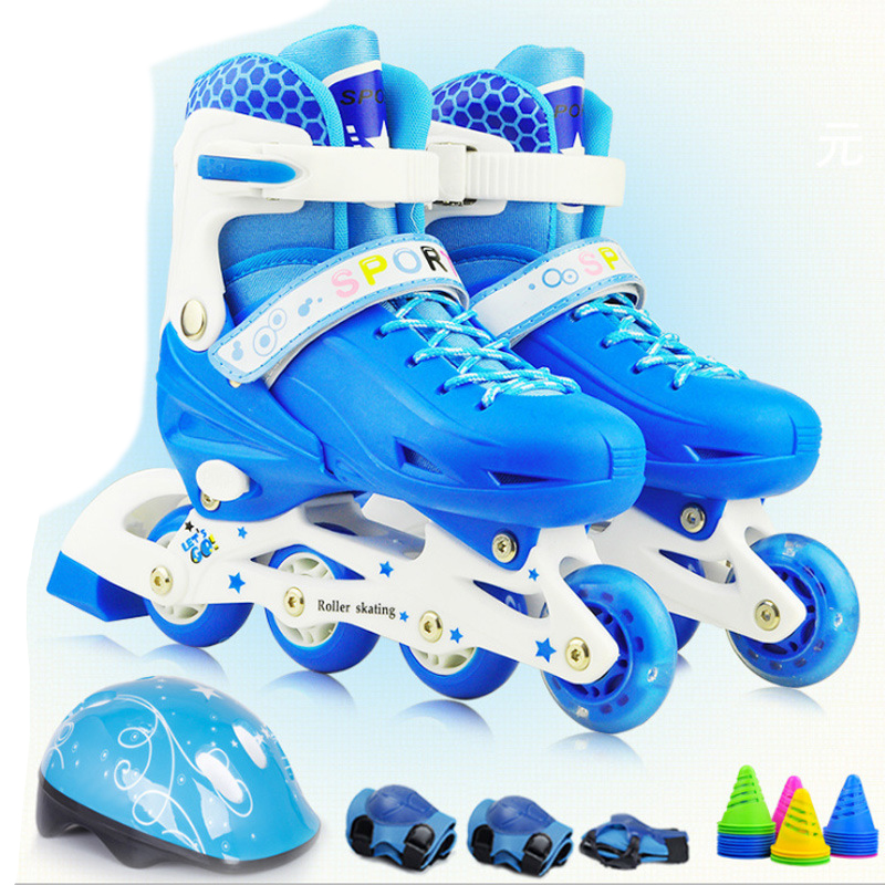 2018 NEW Teenagers Children Inline Skate Roller Skating Shoes Helmet Knee Protector Gear Adjustable Flashing PU Wheels 2 Colors 1 pair lovely children inline ice skate roller skating shoes with brake adjustable washable pe aluminum alloy stent pu wheels