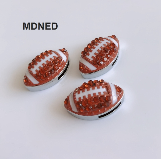 5PCS 8MM Full Rhinestone Football Slide Charms Letters DIY Accessory Fit  8mm Wristband Pet Dog Collars Strips Keychain 9a1ceaeb835d