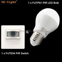 FUT034 Mi.light 220V PIR Wireless Sensor Switch + FUTP01 6W Cool White Warm White PIR LED Bulb E27 Base w/ PIR Sensor AC86-265V