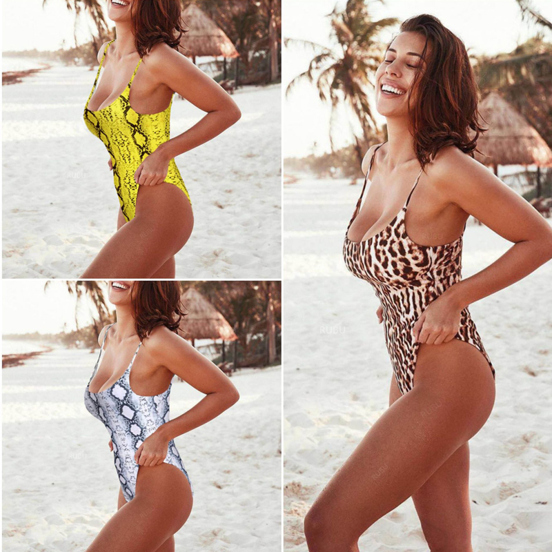d153e6d7126 Strappy leopard print one piece swimsuit women high waist swimwear Push up  sexy bathing suits body