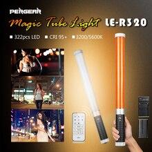 Pergear LE-R320 Pro 322 pcs Handheld LED Tubo de Luz de Preenchimento CRI 95 + Regulável Bi-color 3200 K/5600 K Foto de GELO do DIODO EMISSOR de Luz com bateria