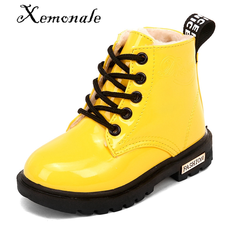 Xemonale Size 21-36 New 2016 Sneakers Waterproof Martin Snow Rubber Children Boots Girls & Boys Winter Boots For Kids Shoes