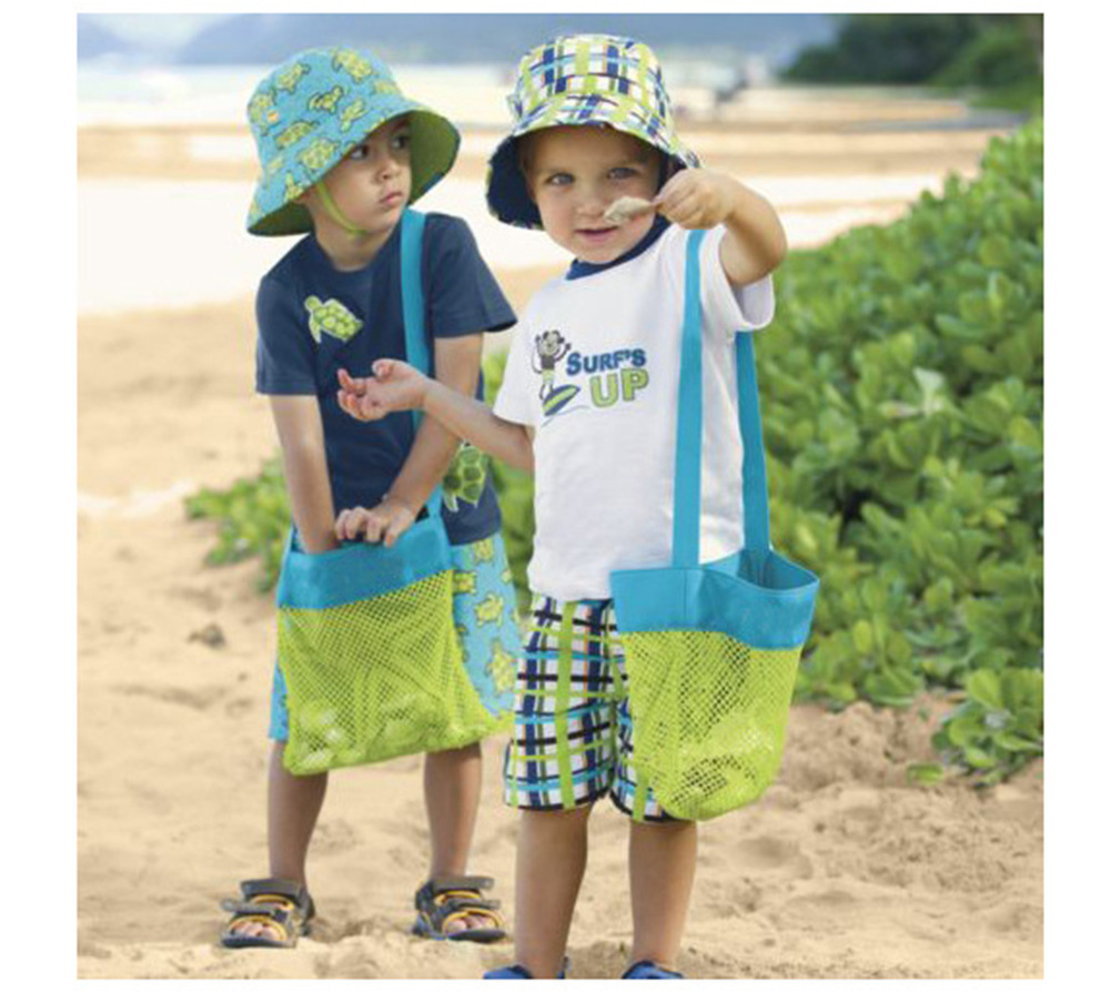 From-The-Sand-Toy Children Toys Storage-Bag Shell-Collect-Grid Beach-Bag--Mesh-Backpack
