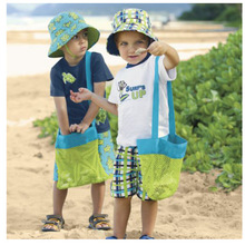 2 Pieces/Lot-24x25cm  Children Toys Shell Collect Grid Beach Bag --Mesh Backpack Stay Away From The Sand Toy storage bag