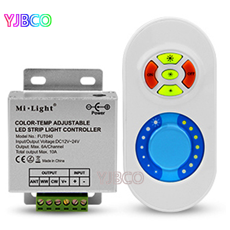 FUT040 RF 433MHz Dual White CCT LED Dimming Controller For Warm White&cool White Led Strip Light,DC12V-24V