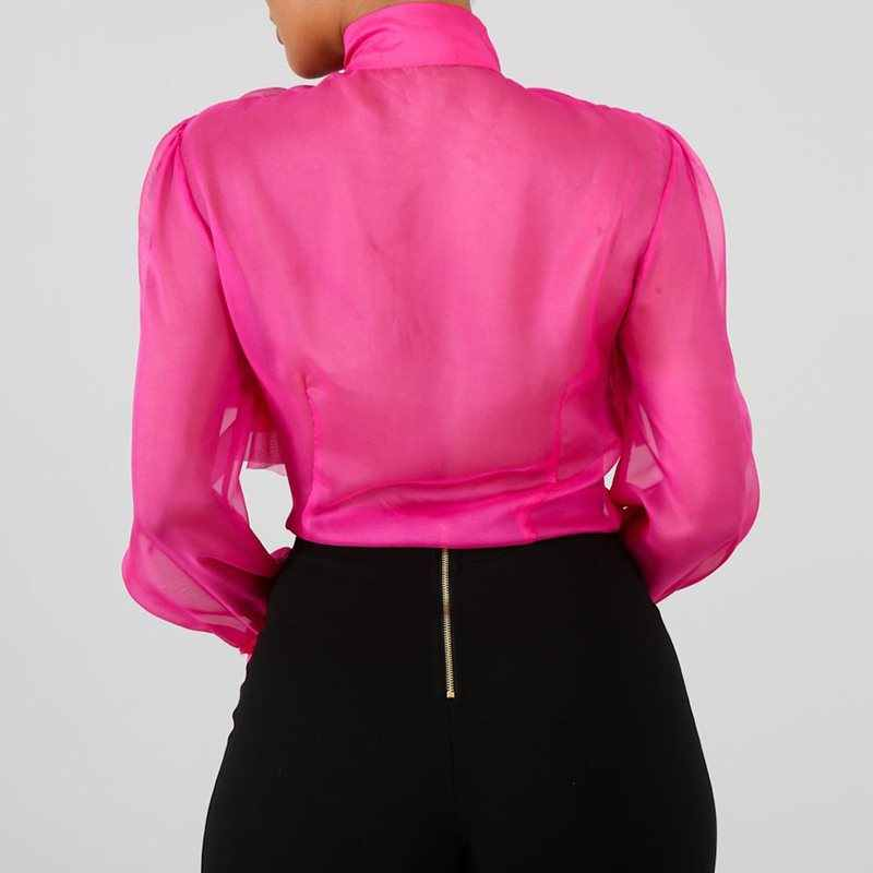 無地ファルバラブラウス女性長袖ピンクフリル女性 2019 トップス夏のオフィスレディ Ol エレガントなシャツとブラウス