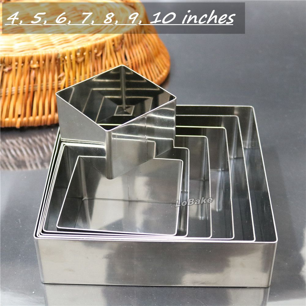 7pcs Set Latest 4 10 Inches Square Shape Stainless Steel