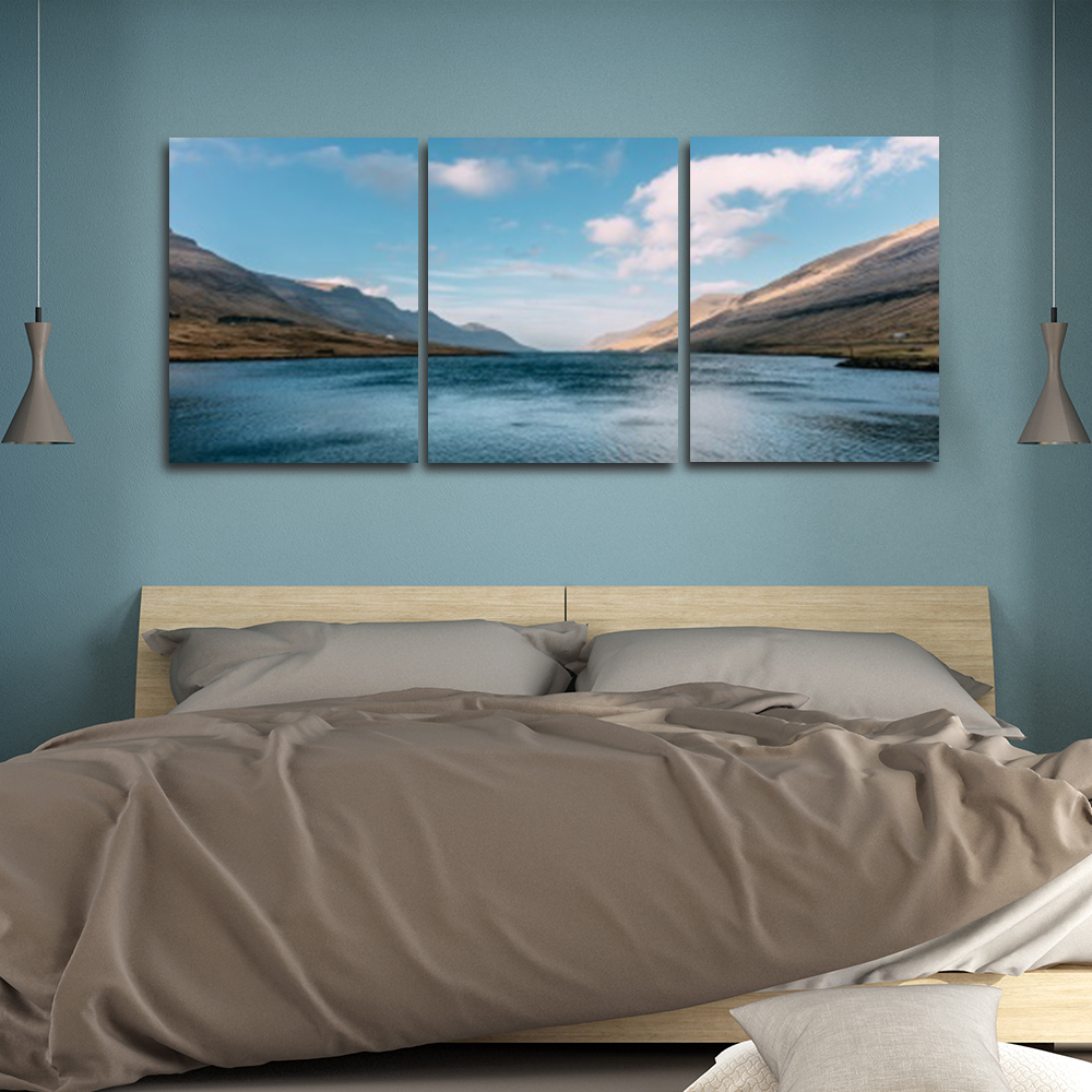 Laeacco Nordic 3 Panel Mountain Water Posters and Prints Wall Art Home Living Room Decor Canvas Paintings Calligraphy in Painting Calligraphy from Home Garden