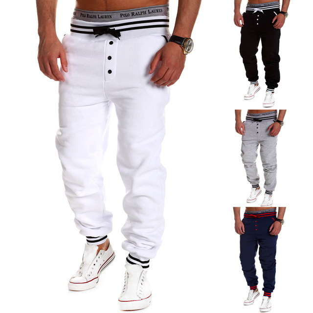 The new men's casual pants drawstring elastic waist single breasted solid color sweatpants