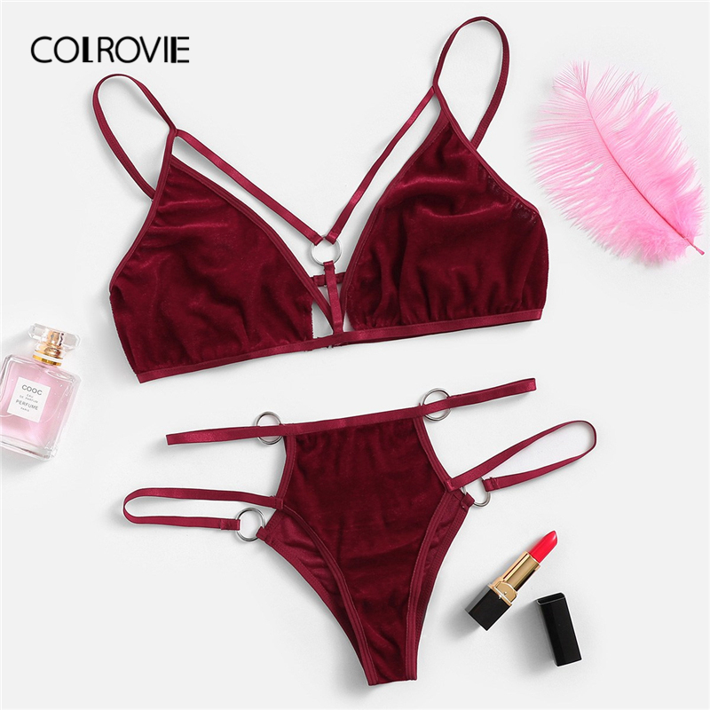 COLROVIE Burgundy Cut Out Harness Velvet Sexy Intimates Women Lingerie Set Wireless Underwear Bra Set Thongs With V-Strings