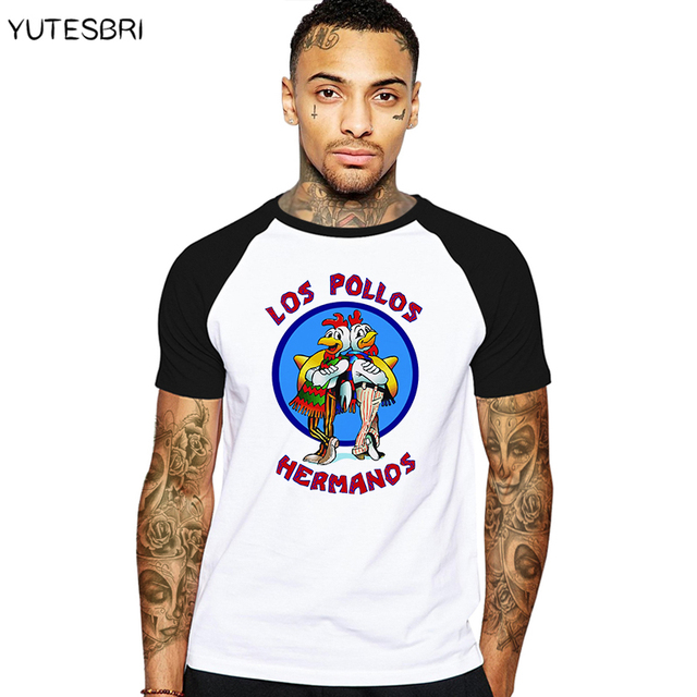 6e59de2c Brand Quality Breaking Bad LOS POLLOS HERMANOS t shirt Tees Distressed  Walter White Heisenberg AMC TV Show T-shirt Tops For Men