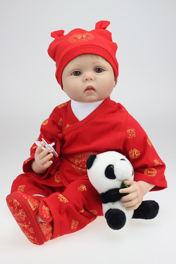 Full body silicone baby for sale 2015 - 22 High Quality Silicone Reborn Babies For Sale Red Chinese Outfit Rooted Hair Baby Real