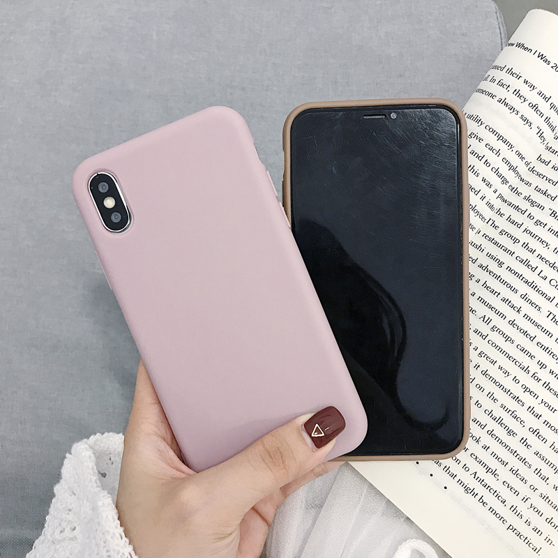 Image 4 - Solid Color Silicone Couples Cases For iphone 7 8 6 6S Plus X XS XR XS Max Cute Candy Color Soft Simple Fashion Phone Case-in Fitted Cases from Cellphones & Telecommunications