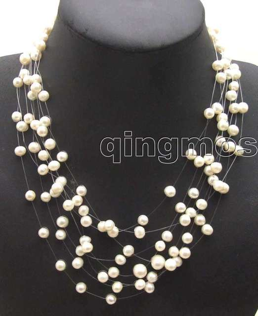 "SALE Great 6-7mm White Round natural Freshwater Starriness 8 strands Pearl 18-20"" Necklace-nec5060 Wholesale/retail Free ship"