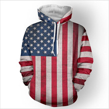 2018 spring and autumn fashion camouflage print 3D American flag printed Hoodie Hooded Sweatshirt long sleeved casual men's clot(China)