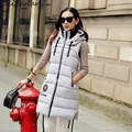 2016 Winter New Thicken Sleeveless Women's Down Vests with Hooded Slim Long Section Outer Vest Plus Size