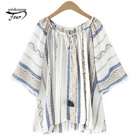2017 Spring New Fashion Embroidery Casual Blouse Striped Shirt Female Long Sleeve Slim Shirt Tops Fresh