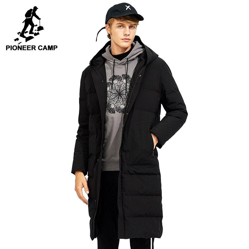 Пионерский лагерь Новое поступление Длинные утепленная куртка мужская брендовая одежда с капюшоном теплые Белое пальто 80% утиный пух мужск...