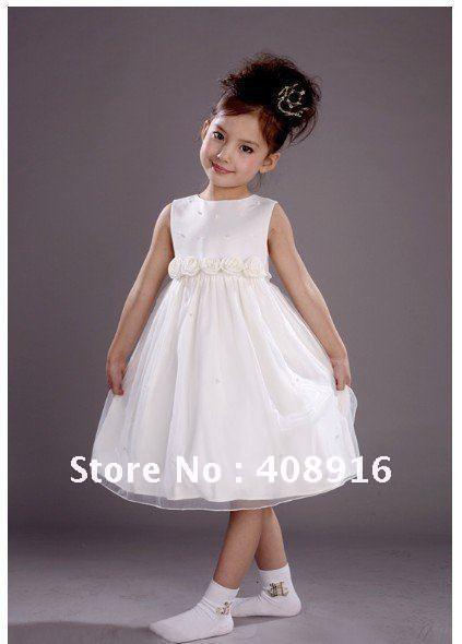 2012  New--Kids Dress Flower Princess Dress Baby Dress Children Dress Baby Dresses White Dress Flower Dress Freeshipping