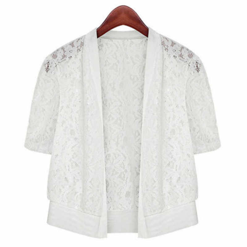 Лето 2018, женское повседневное кимоно, кардиган, женская рубашка, кружевная однотонная блузка, вязанная крючком блузка, офисное кимоно, для женщин, плюс размер, топ, M-5XL
