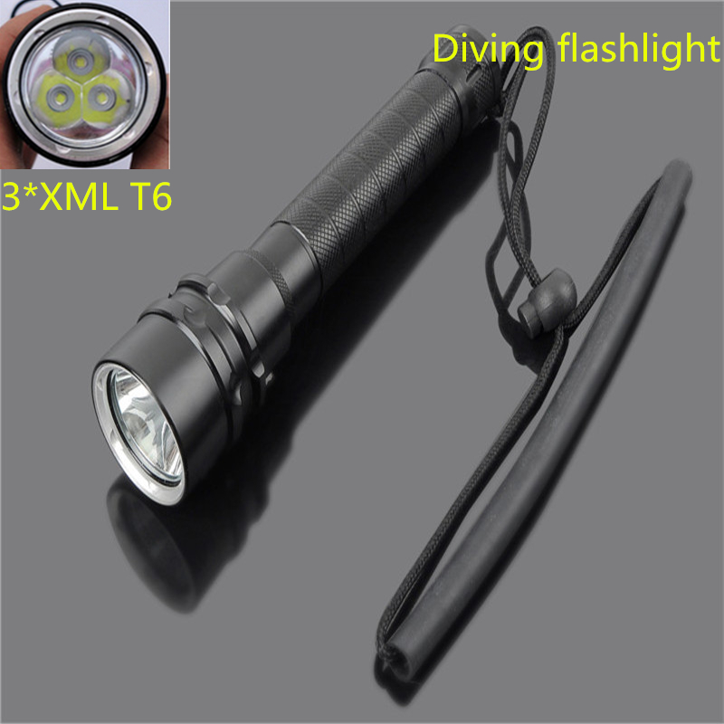 Professional Underwater Diving Flashlight Dive XM-L T6 6000LM LED Waterproof Torch 3T6 LED Flash Light by 18650 Battery