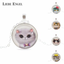 Cute Cat Sterling Silver Chain Pendant Necklace Classic Glass Cabochon Statement Necklace Fashion Necklace For Women 2015