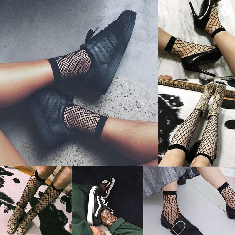 Hot Women's Harajuku Black Breathable Bow Knot Fishnet Socks Sexy Hollow Out Mesh Nets Socks Ladies Girl's Sock