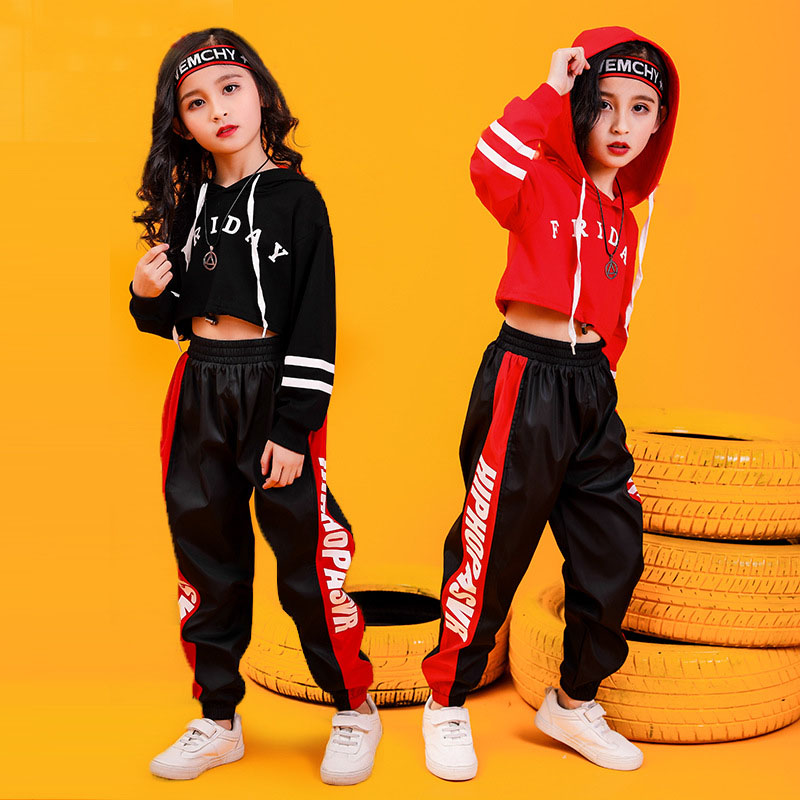 Children Hip Hop Clothing Cropped Hoodie Sweatshirt Shirt Tops Casual Pants for Girl Dance Costume Wear Ballroom Dancing Clothes