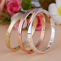 New Fashion Gold color Love Bracelets & Bangles For Women With Stone Titanium Steel Men Cuff Bangles Female Gift CD01