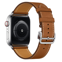 Leather Bands For Apple Watch 44mm Series 4 Brown Red Gray Blue Replacement Bracelet Silver Deployment Buckle For iWatch Strap