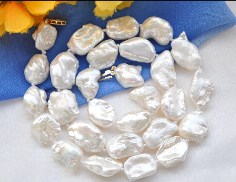 A NATURAL 20mm NATURE white DENS keshi REBORN pearl necklace Z5420