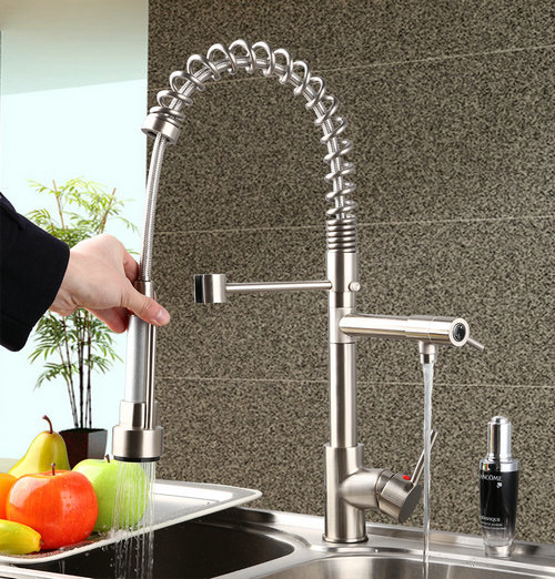Nickel Brushed Kitchen Faucet Pull Down & Swivel Spout  Brass Water Tap Basin Sink Torneira Cozinha Mixer Tap probrico brushed nickel mixer water tap pull out down swivel spout kitchen sink faucet brass kfqy0381sn usa domestic delivery