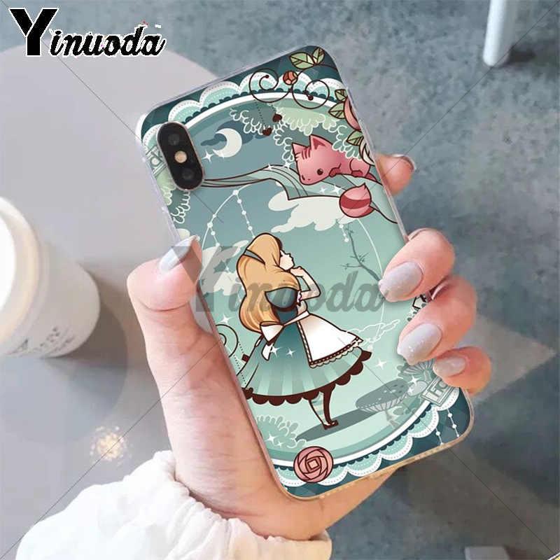 Yinuoda Алиса в стране чудес Чеширский кот красочные милые аксессуары для телефонов Чехол для iPhone X XS MAX 6 6 S 7 7 plus 8 8 Plus 5 5S XR