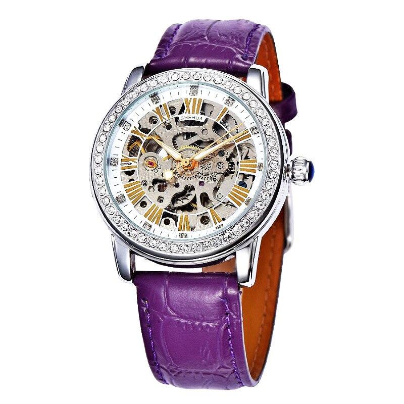 SHENHUA 2018 Damen Diamant Frauen Uhren Selbst Wind Marke Luxus Weiß Lila Skeleton Transparent Automatische Mechanische Uhr